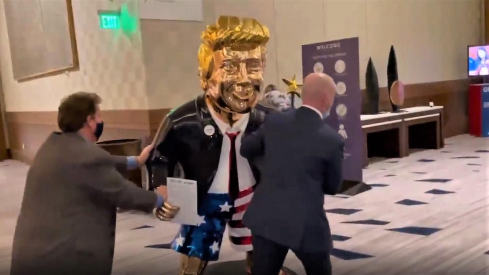 Golden Trump statue at CPAC was made in Mexico -- and is for sale: report