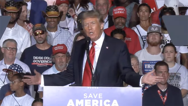 Long-winded Donald Trump offered plenty of red meat for diehard supporters during 90-minute Alabama campaign rally