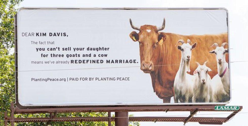 Kim Davis mocked by marriage billboard in Rowan County
