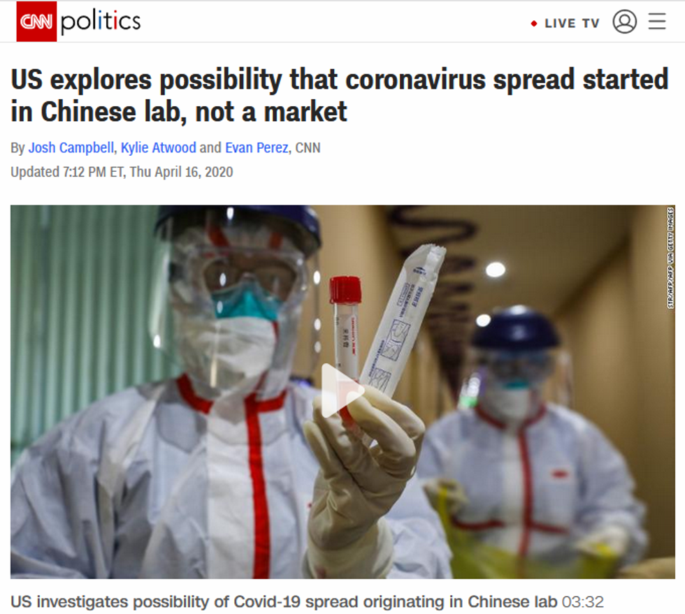 CNN: US explores possibility that coronavirus spread started in Chinese lab, not a market