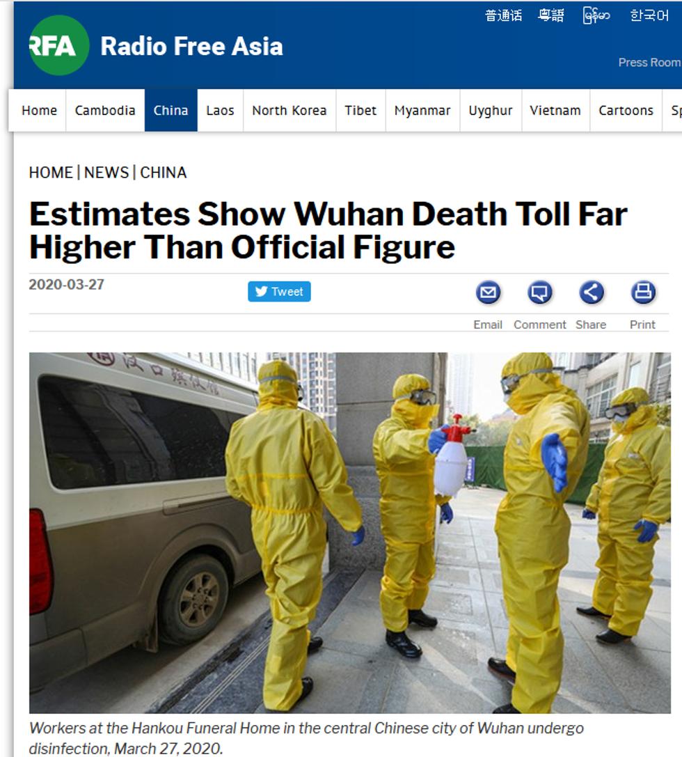 RFA: Estimates Show Wuhan Death Toll Far Higher Than Official Figure