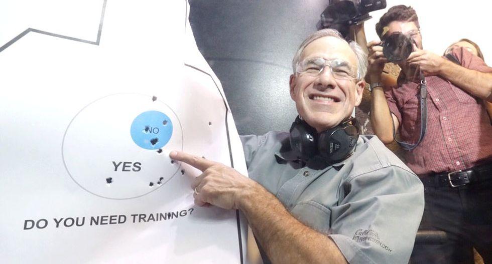Texas Gov. Greg Abbott jokes about shooting reporters after celebrating gun bill