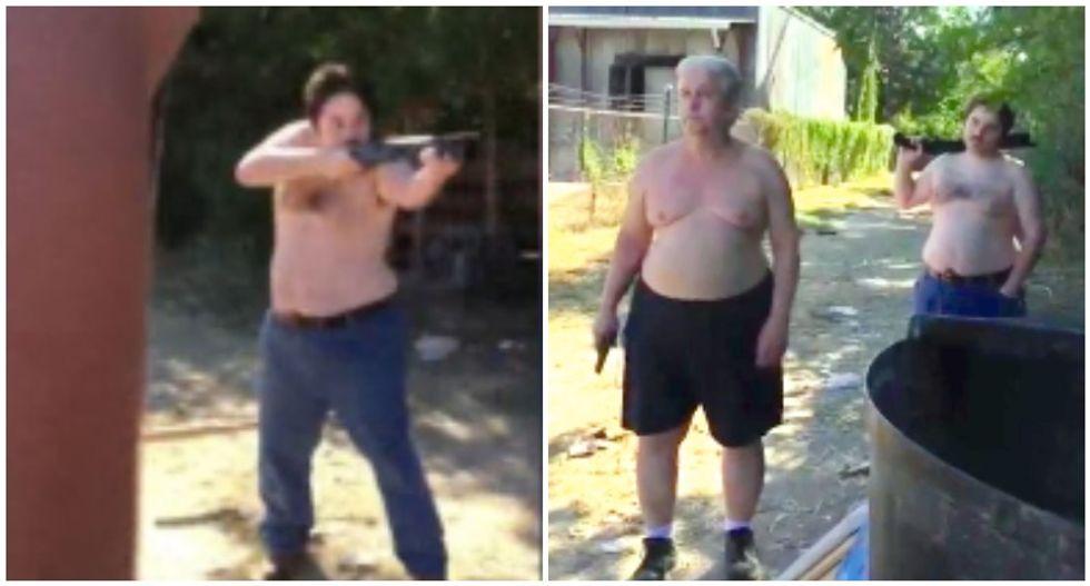 Disturbing video shows father-son duo gun down their neighbor during dispute over trash
