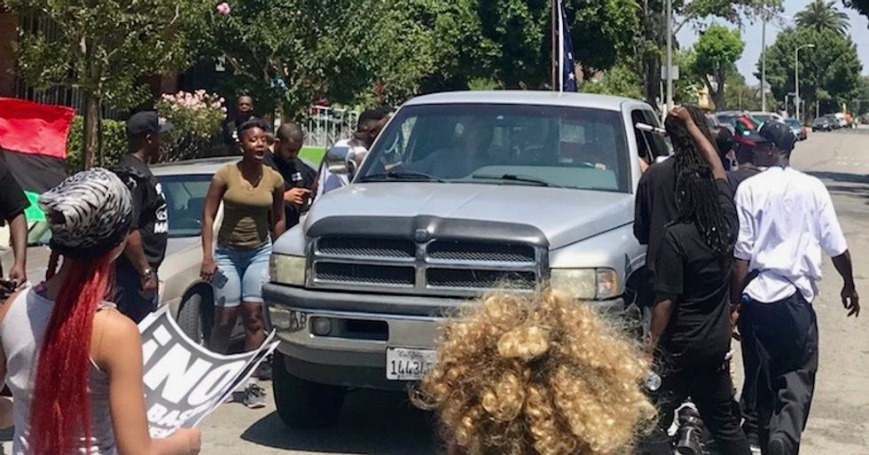 Pro-Trump boosters humiliated and chased away by South LA crowd after failed protest against Maxine Waters