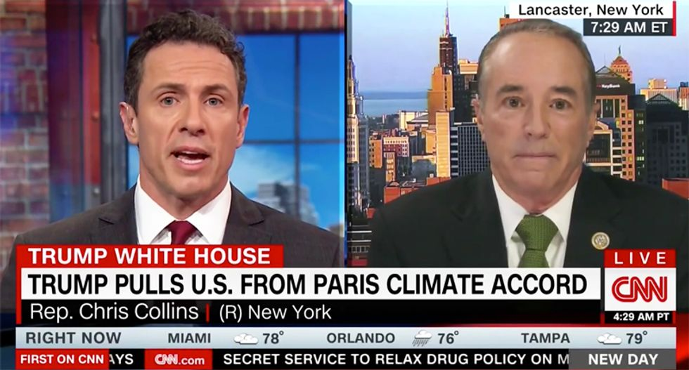 'Why you have to deny science to make jobs': CNN's Chris Cuomo rips Trump booster defending Paris withdrawal