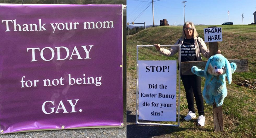 Frequently enraged Christian woman hauls bizarre anti-LGBT sign to Mother's Day brunch