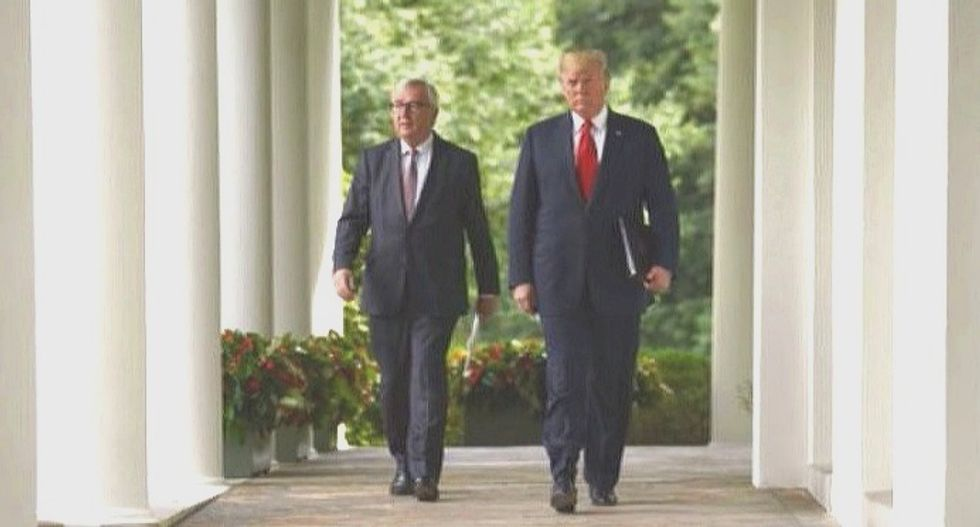Trump, EU leader pledge to cut trade barriers, hold off on further tariffs