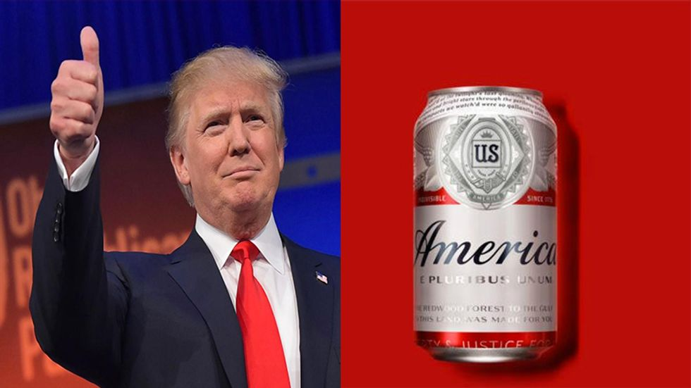 Watch Trump bizarrely take credit for Budweiser's new 'America' beer can on Fox & Friends