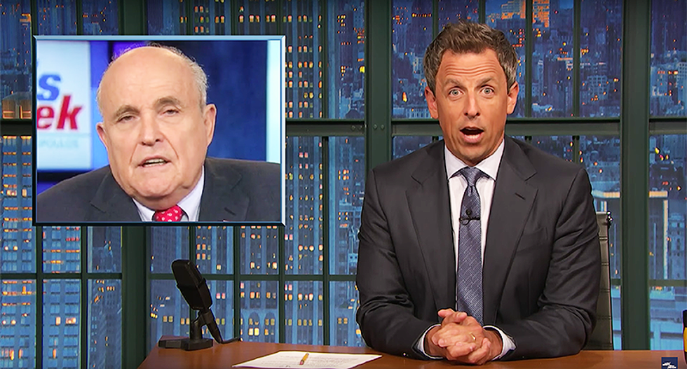 Seth Meyers nails how to tell if Donald Trump and Rudy Giuliani are lying: 'Just point a camera at them!'