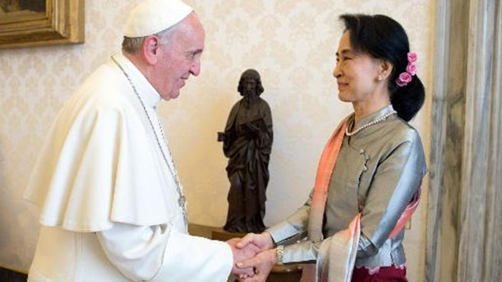 Pope Francis meets with Myanmar's famed dissident Aung San Suu Kyi