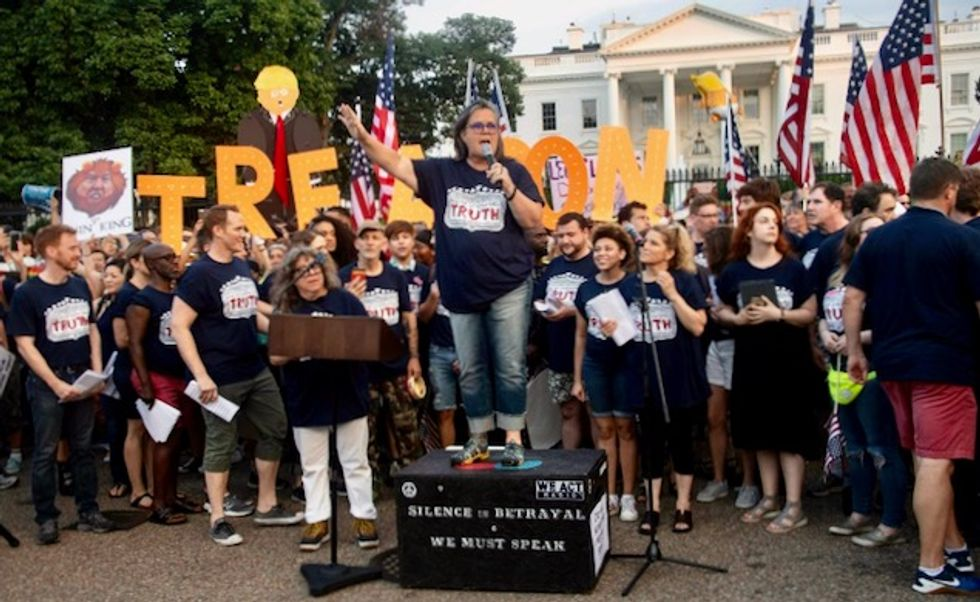 Trump nemesis, Broadway stars join protest at White House