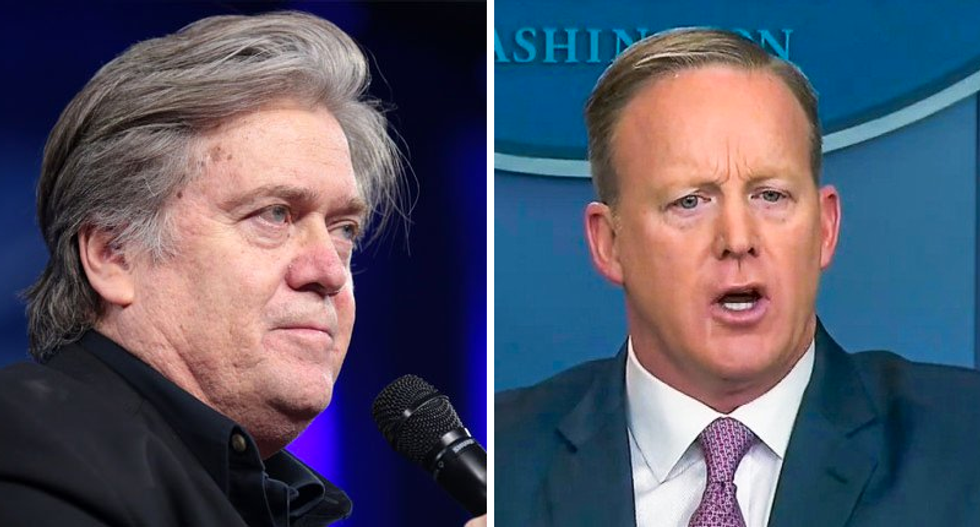 'Sean got fatter': Steve Bannon insults Spicer to explain why press secretary does briefings off camera