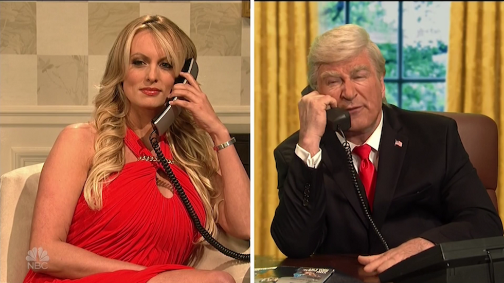 Watch: Stormy Daniels appears on Saturday Night Live's cold open as Cohen and Trump try to get their lies straight