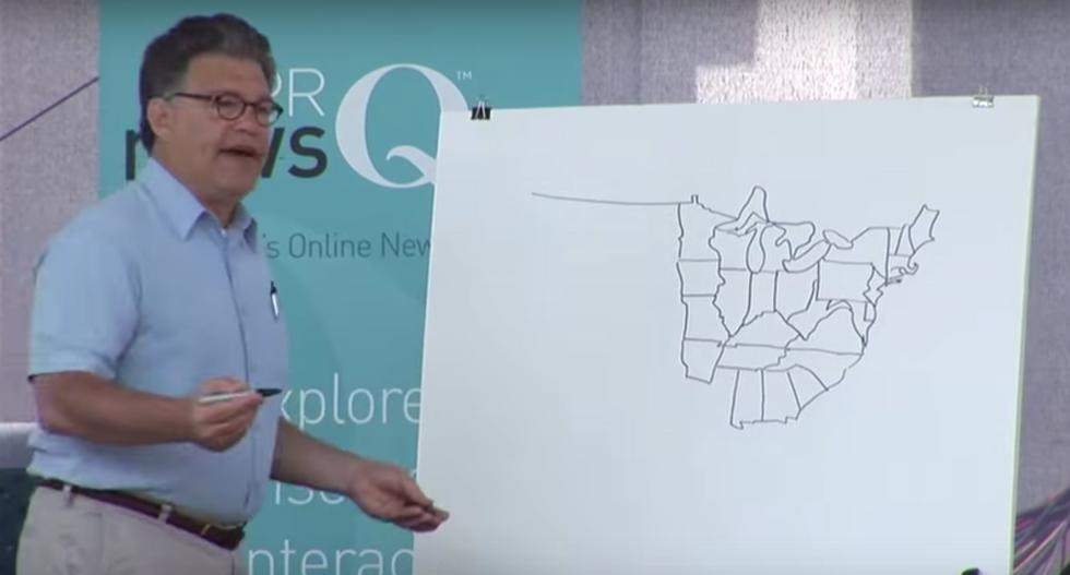 Al Franken flashback: Watch the Minnesota senator freehand draw the US map -- from memory