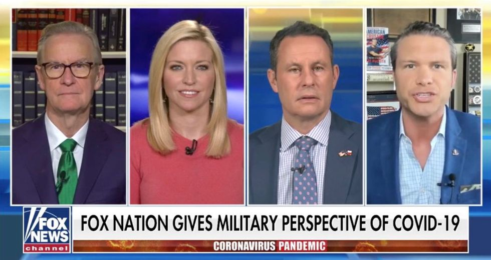 'Take on the enemy because we have no choice': Fox News urges viewers to 'get the military mindset' for war to re-open