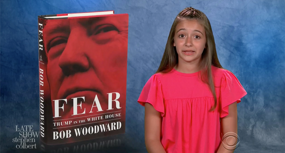 Colbert's Reading Rainbow kids review Bob Woodward's book about 'an ogre made of cheese who runs the country'