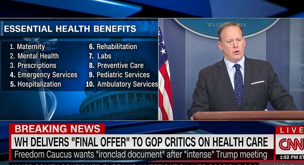 CNN calls out Sean Spicer with brutal split-screen as he tries to explain cuts to maternity care