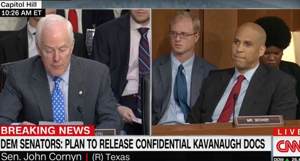 'Bring it on': Cory Booker taunts GOP's John Cornyn for threatening to expel him for leaking Kavanaugh docs