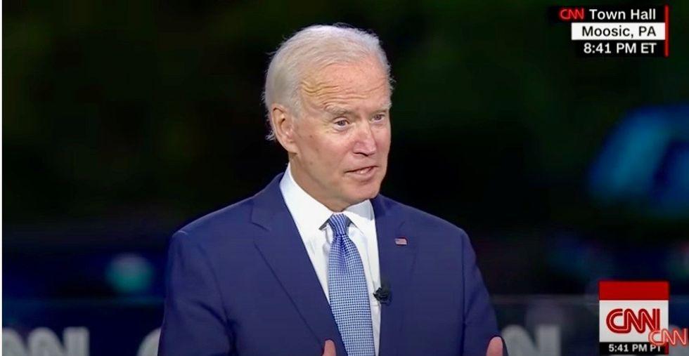 Working-class roots, empathy on display as Joe Biden commands town hall