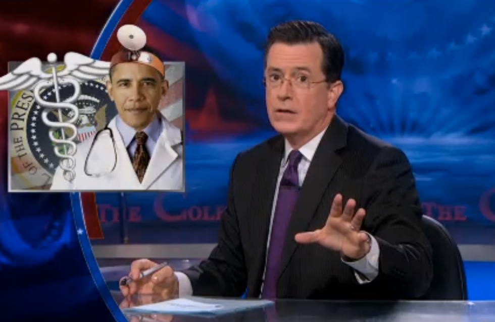 Colbert parties with Grim Reaper over 'death of Obamacare'