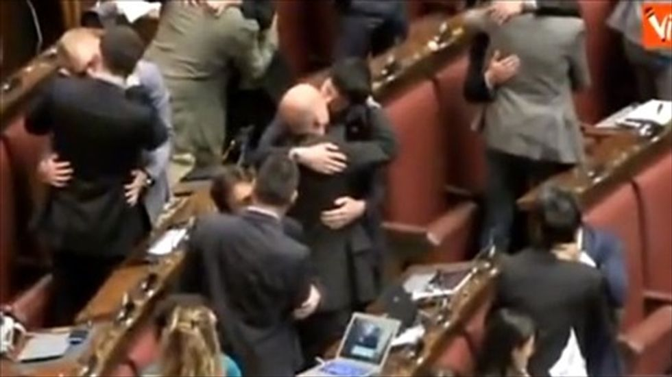 Italian lawmakers hold same-sex 'kiss-in' to protest anti-LGBT discrimination