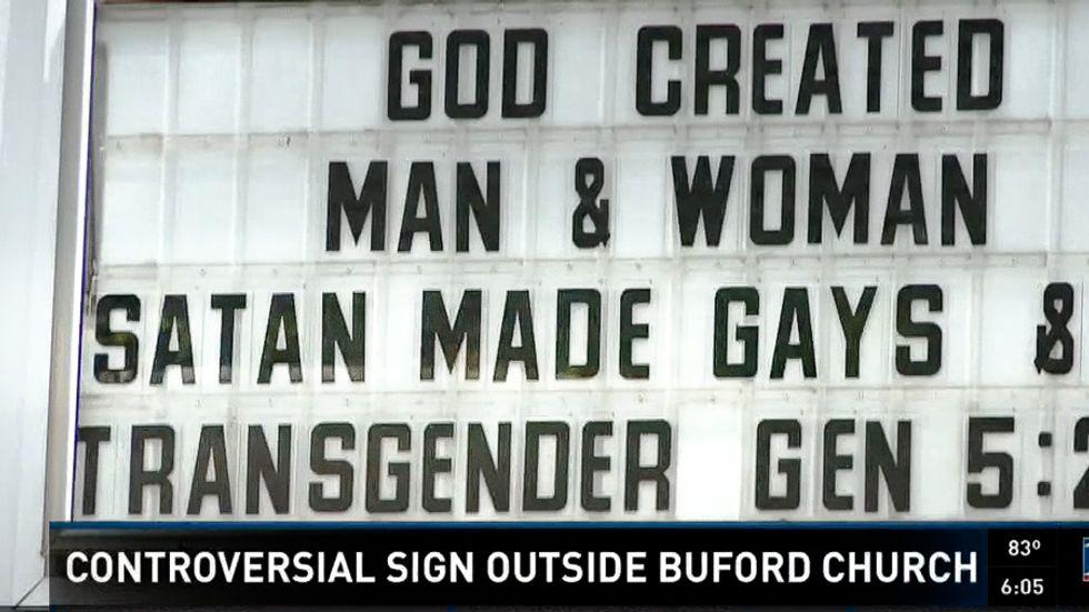 'Satan made gays': Georgia church sign attacks LGBT people after Orlando shooting