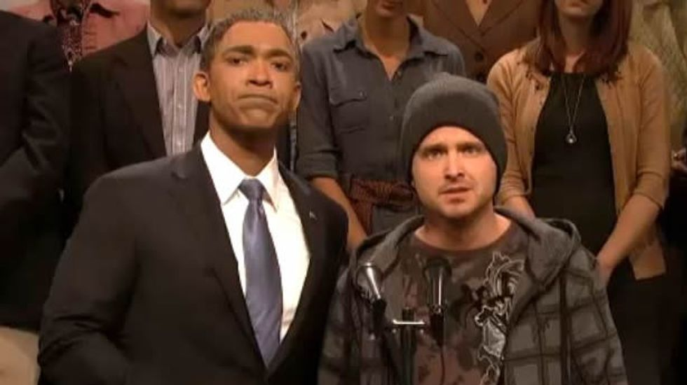 Breaking Bad's Aaron Paul on SNL: 'Because there wasn't Obamacare, he started cooking meth.'