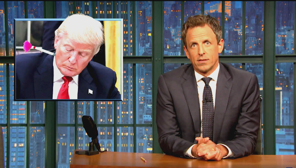 Seth Meyers mocks GOP for treating Trump like King Kong: 'He's the president, you shouldn't have to control him'