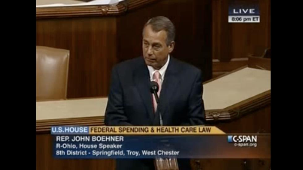Boehner mimics Obama on House floor during debate over government shutdown