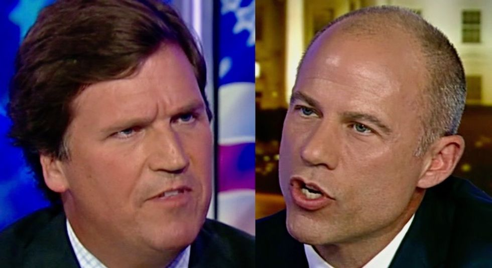 'How do you have a show?': Michael Avenatti explodes as Fox News host Tucker Carlson interrupts and insults him