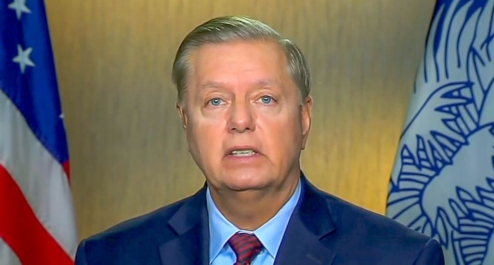 WATCH: Lindsey Graham flees Iraq War vet who politely asks to talk about Trump's conduct