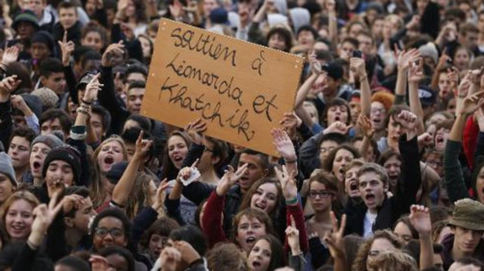 Thousands of French students take to the streets to protest against deportations