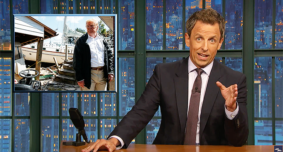 Seth Meyers ridicules Trump for 'weird' visit to Carolinas: 'He thinks if a boat shows up on your lawn you get to keep it!'