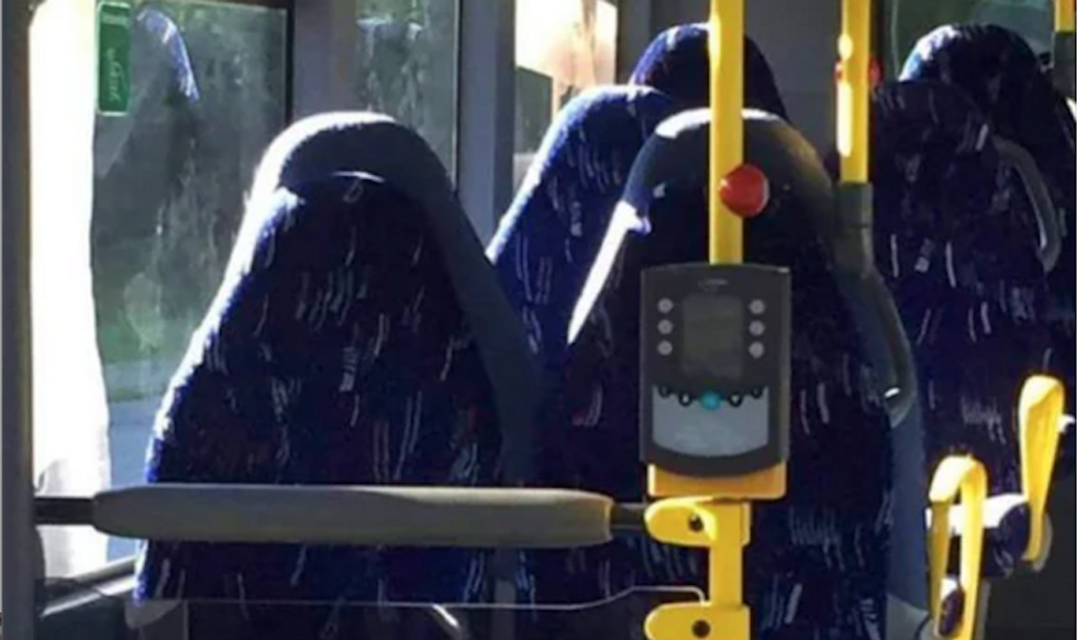 Right-wingers pitch screaming fit over 'terrifying' Burqa women -- who turned out to be just bus seats