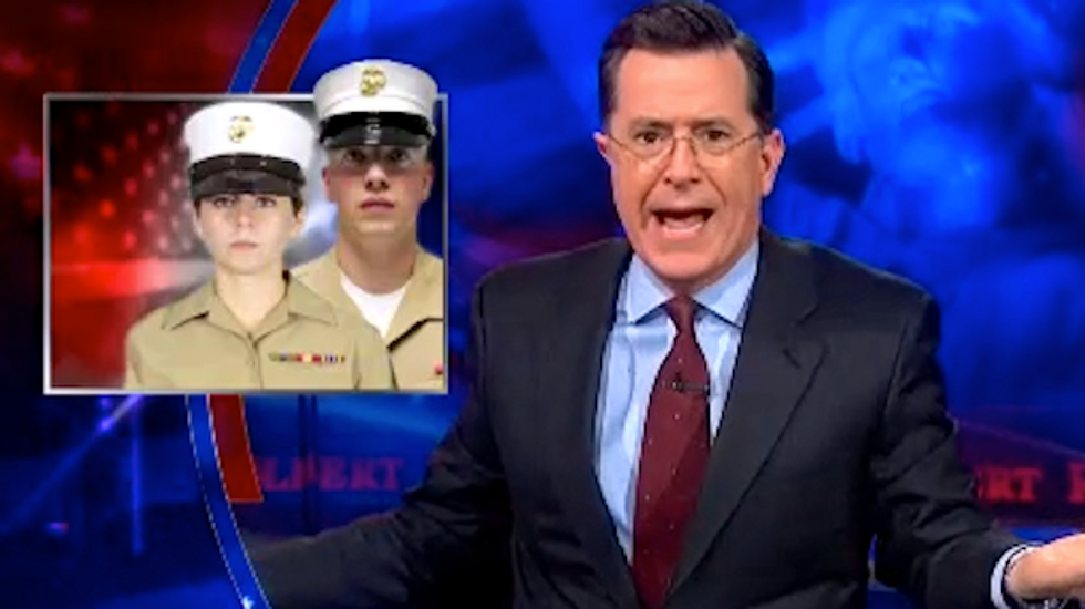 Colbert mocks conservative outrage over 'girly' new Marine hats: 'They're cutting off the balls of Montezuma'