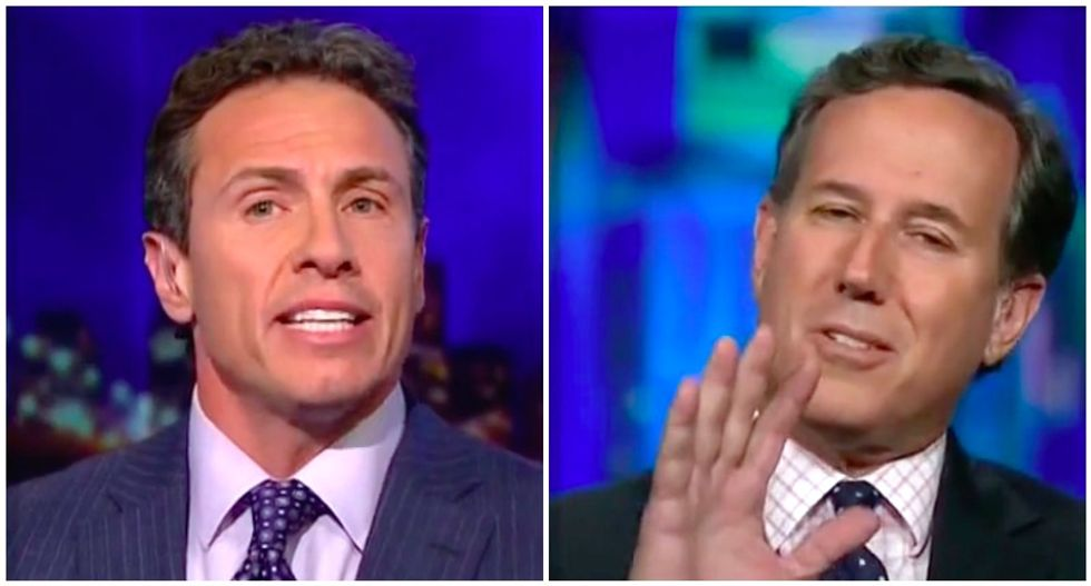 CNN's Chris Cuomo loses it with Rick Santorum after he claims 'the left' is 'overreacting' to Trump-Putin disaster