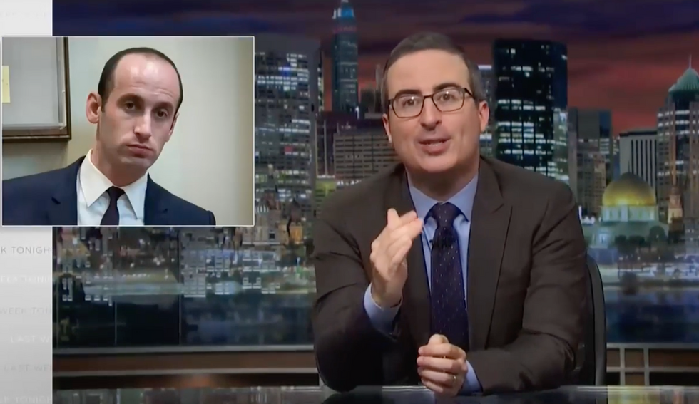 John Oliver clobbers Stephen Miller: An 'a**hole who can pick a fight with a f*cking statue'