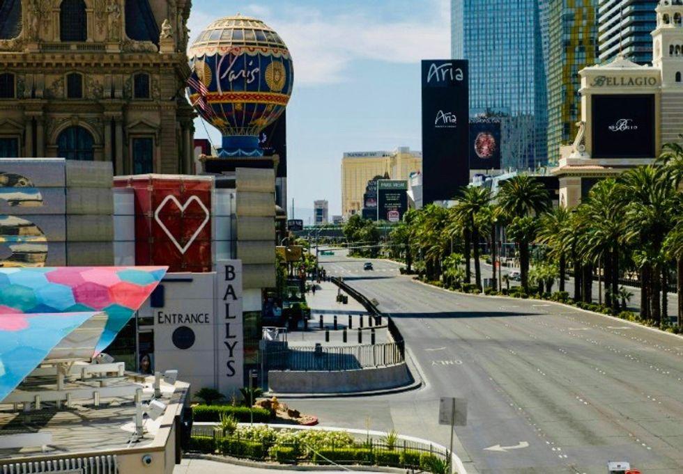Empty Las Vegas Strip counts losses as locals venture out