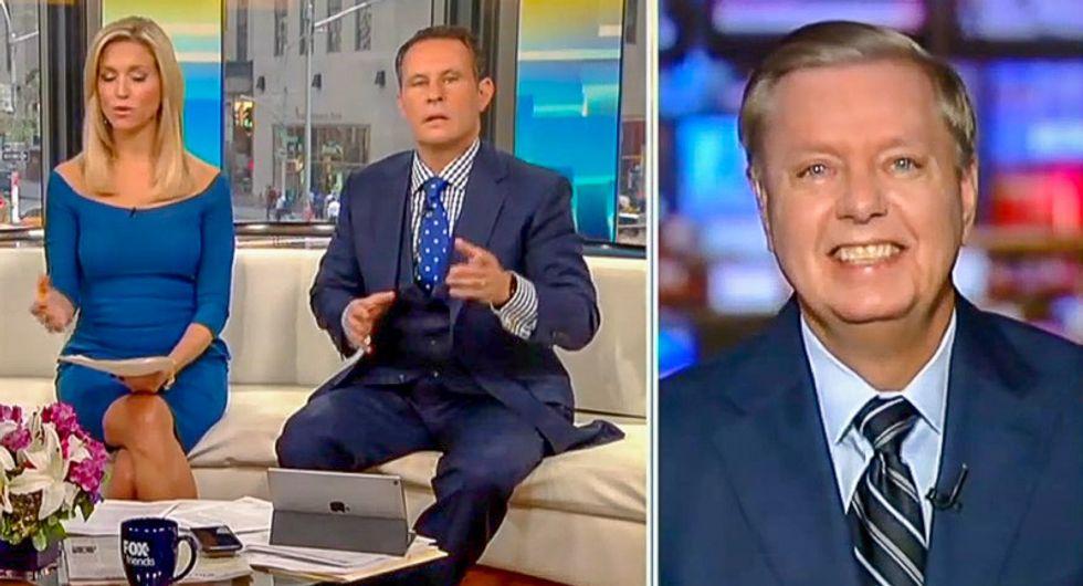 WATCH: Lindsey Graham laughs out loud as Fox & Friends host details Kavanaugh accuser's gang rape allegations