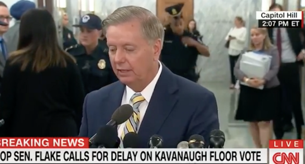 Lindsey Graham jokes about FBI investigation into Kavanaugh rape allegations: 'I guess I have to explain this to Trump'