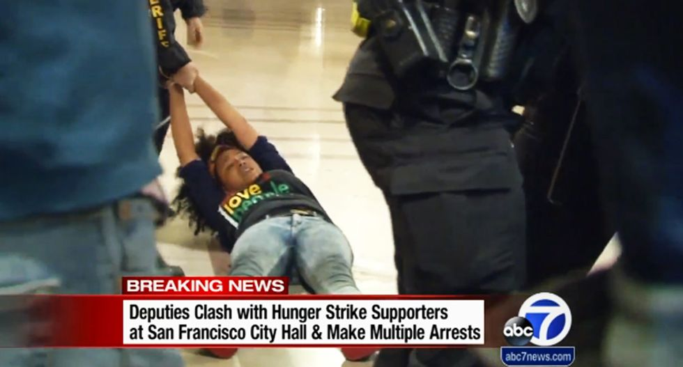25 arrested as police clash with 'Frisco Five' hunger strike supporters occupying SF city hall