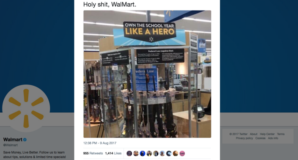 Walmart apologizes for back-to-school gun display urging students to 'own the year like a hero'