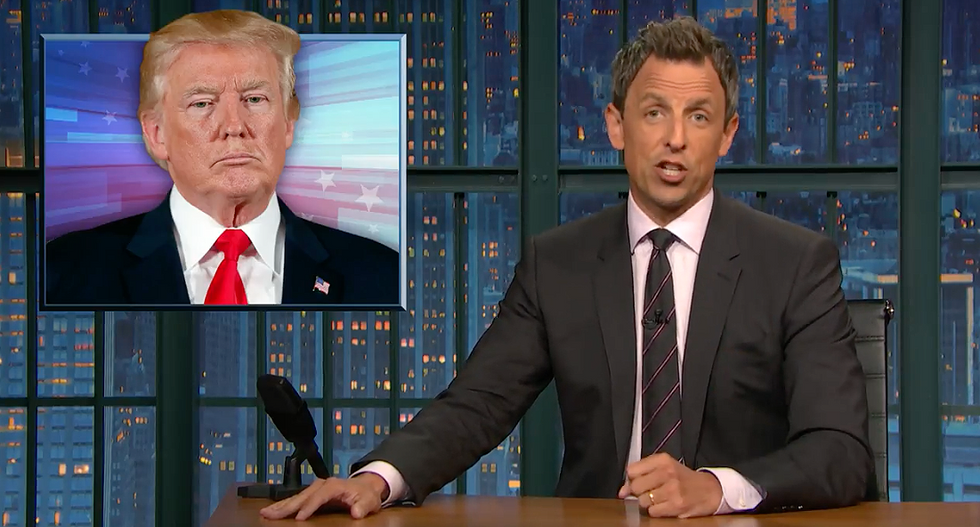 'A lying racist who's desperate for praise': Seth Meyers shreds Trump's 'twisted' neo-Nazi defense