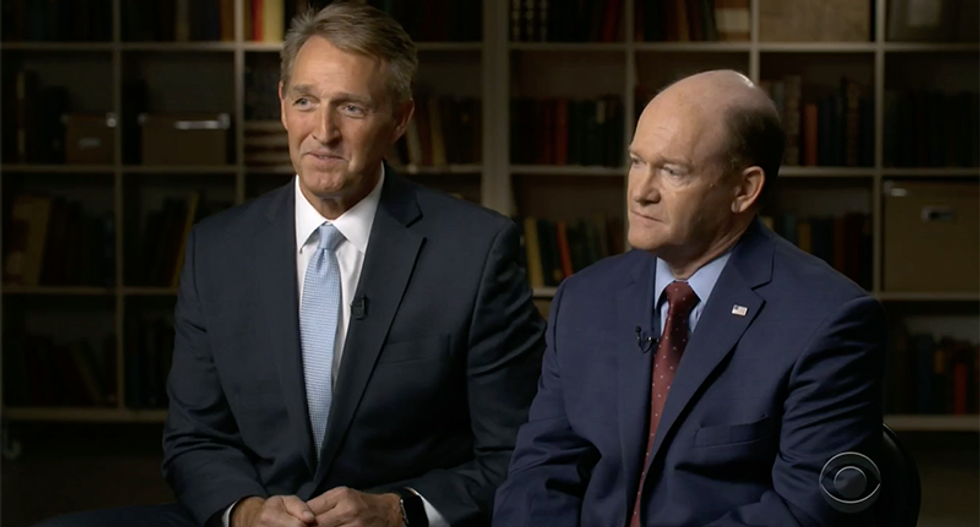 Senators Chris Coons and Jeff Flake agree Brett Kavanaugh is 'over' if there's proof he lied to committee