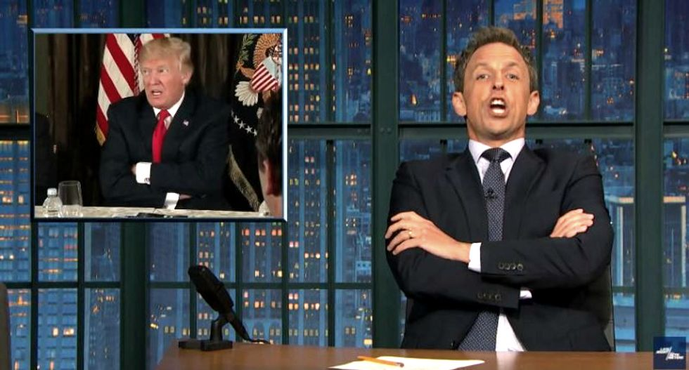 'We've elected an addled grandpa who has trouble forming coherent sentences': Seth Meyers on Trump