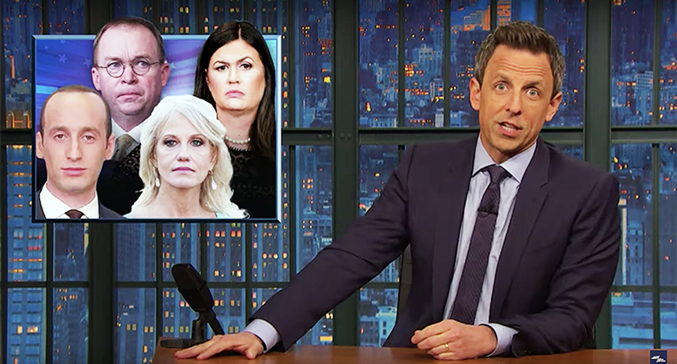 Seth Meyers calls out Trump for outsourcing running the country to a cadre of 'weirdos' while he plays golf