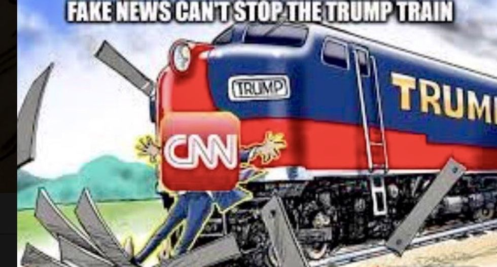 White House swears Trump's violent CNN train-wrecking tweet was an 'inadvertently posted'