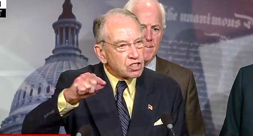 Chuck Grassley rages at reporters for anti-Kavanaugh 'bias' as he promises judge will be confirmed