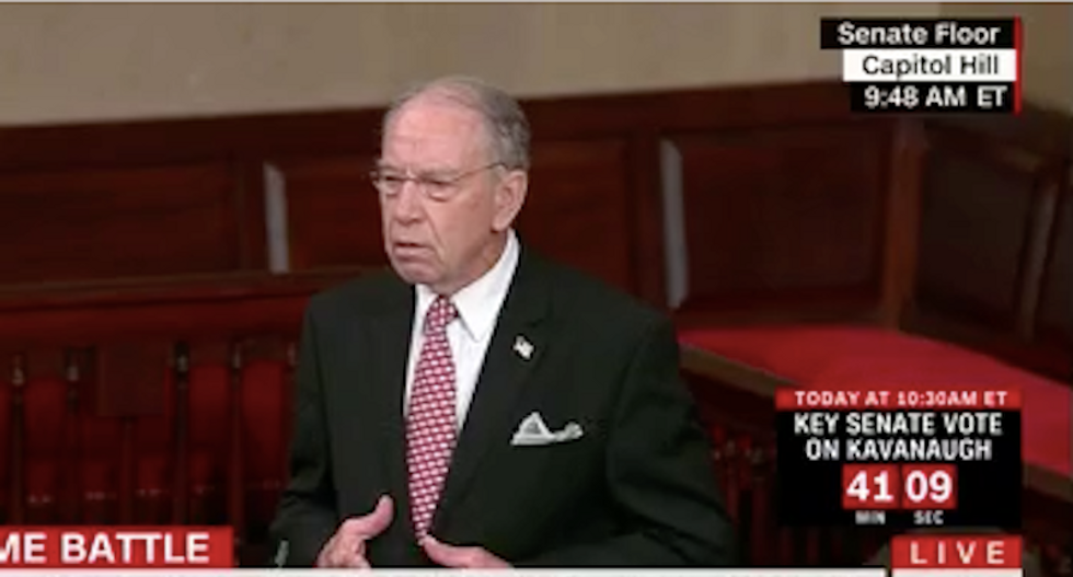 Republican Chuck Grassley starts off Senate's Kavanaugh debate by angrily shouting into the mic about 'mob rule'