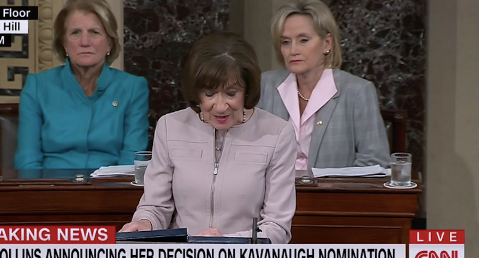 'Wrong side of history': Twitter pummels Susan Collins for 'yes' vote on Kavanaugh